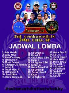 Jadwal Lomba Anniversary 3rd BnR Cendrawasih BC